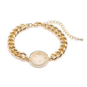 AURA Swarovski Crystal 18K Gold Medallion Bracelet